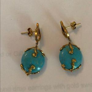 Azaara Brand Round Turquoise Drop Earrings